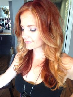 Red copper ombré  with hi lights long hair with loose curls color melt