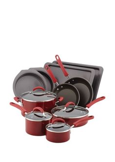 KitchenAid Utensils Red   KITCHENAID Red 14 Piece Cookware U0026 Bakeware Set  Was $342.00 Now