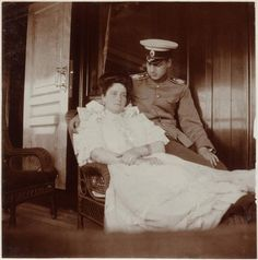 A touching moment with Empress Alexandra & Grand Duke Dmitrii Pavlovich.He was raised by Alexandra's sister Elizaveta after his Father left the country to marry a commoner. Dmitrii had been close to the Tsar's immediate family-and was thought to be a suitor for their eldest daughter Olga, yet his friendship with the scandalous Prince Felix Yussuppov (cross-dresser & bisexual) made him a less than favorable candidate for the morally conservative Empress.Later he and Felix would murder…