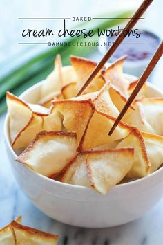 Baked Cream Cheese Wontons - No one would ever believe that these crisp, creamy wontons are actually baked, not fried! And theyre so easy to make!