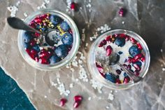 Raw buckwheat porridge made with apple, orange juice and cardamom, served with berries and bee pollen. Vegan and gluten free!