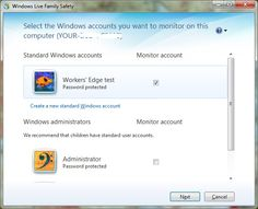 Windows Live Family Safety account-monitor wizard