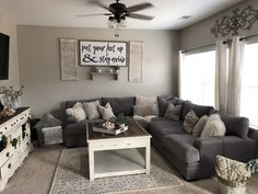 85 Best Modern Farmhouse Living Room Curtains Decor Ideas - Home living room - Deco Home Small Apartment Living, Cozy Living Rooms, New Living Room, My New Room, Living Room Interior, Home And Living, Living Room With Sectional, Decorating Ideas For The Home Living Room, Living Room Decor Grey Couch