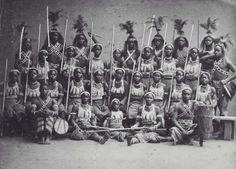 Group portrait of 'Dahomey Amazons', visiting Paris (Europe), Circa 01 / 02-1891