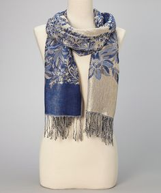 Take a look at this Royal & Gray Floral Fringe Pashmina-Silk Blend Scarf by Italmode on #zulily today!