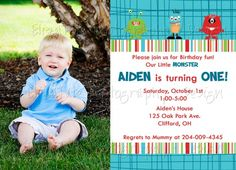 cute lil monster birthday party invitation
