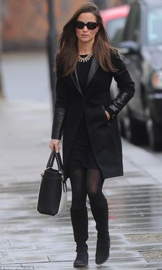 Pippa wearing a Cashmere by Tania dress, Sefanel coat, Russell & Bromley boots, and Aspinal Marylebone tote on 1/15/2014
