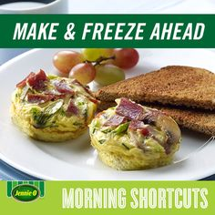 Veggie Frittata with Turkey Bacon | Prepare and freeze tonight. Simply heat up tomorrow for a quick, nutritious breakfast! | Back to School | #JennieO #howto #kidfriendly