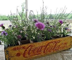 Cute idea to use an old coke box for a planter. vintage wooden crate. caja de madera vintage. flores. flowers . decor
