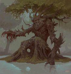 Tagged with art, warhammer, fantasy, warhammer fantasy; (not your typical) Warhammer art dump-Part Creatures Forest Creatures, Fantasy Creatures, Mythical Creatures, Dark Fantasy, Fantasy Art, Tree Monster, Character Art, Character Design, Warhammer Art