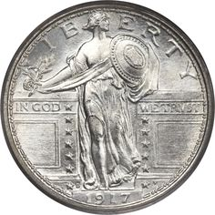 Nothing like a Type I full breast with a Full Head! My favorite coin design. 1917-D 25C Type One MS67 Full Head PCGS.... Standing Liberty | Lot #4463 | Heritage Auctions