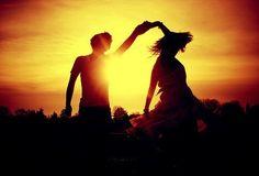 sunset and twirls