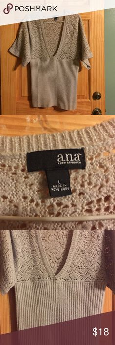 Gray sweater divided under breast area Great sweater for work a.n.a Sweaters V-Necks