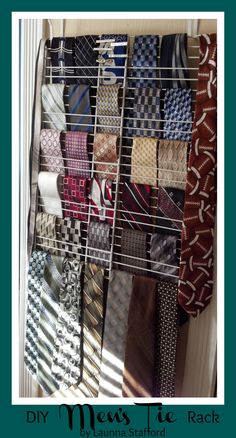 Easy DIY tie rack. Supplies: 2 wire closet racks/shelves, hooks (I used over the door mirror hardware with hooks) nails and masking tape.  Attach the racks together with masking tape in the middle in several places. Attach hooks to the wall with nails and hang the wire rack on the hooks. Arrange ties as you wish. :)