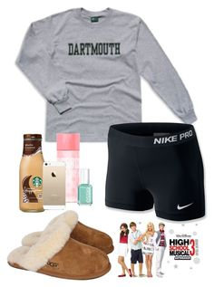 """""""precise ootd rn while watching this movie which i LOVE !!!!"""" by sofiaestrada ❤ liked on Polyvore featuring UGG Australia, NIKE, Victoria's Secret PINK and Essie"""