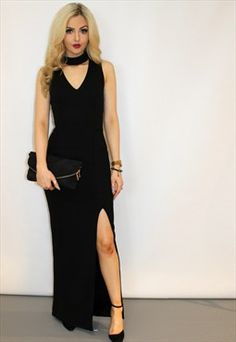 Black Choker Side Split Dress
