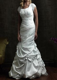 NEW FASHION SATIN MERMAID SHORT SHOULDER BEADED ASYMMETRY WEDDING DRESS WITH APPLIQUES BEADINGS RHINESTONES
