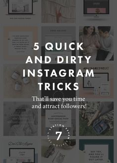 5 Quick and Dirty Instagram Tricks That Will Save You Time and Attract Followers. We created an Instagram guide of all the tools you might need to have a killer feed and grow your audience. Repin to save for later!