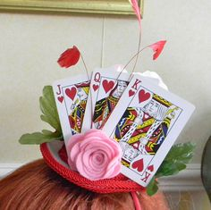 Queen of Hearts Mini Hat Head Band,mini top hat,feathers,playing cards, Valentine's Day,fascinator,photo prop,weddings,bridal party,headband