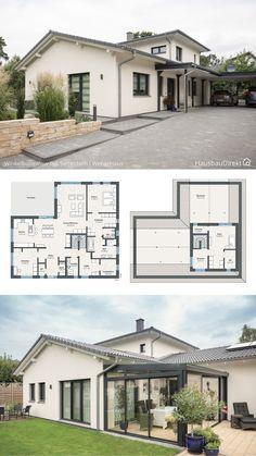 Bungalow Haus Design, Sims House Design, House Front Design, Modern House Floor Plans, New House Plans, Dream House Plans, Layouts Casa, House Layouts, House Plans Mansion