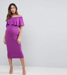 $35 | I love this off-the-shoulder maternity dress | ASOS Maternity Midi Bardot Pencil Dress With Ruffle | maternity fashion | maternity dress | maternity style | maternity clothes | maternity outfit | spring maternity | #ad