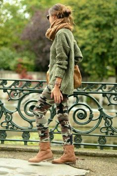 green autumn - Lovely Pepa by Alexandra Fall Winter Outfits, Autumn Winter Fashion, Fall Fashion, Kids Fashion, Camo Leggings Outfit, Camouflage Outfit, Camouflage Leggings, White Flowy Top, Military Trends
