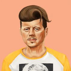 """Amit Shimoni's """"Hipstory"""" portraits re-imagine iconic world leaders as hipsters. Pictured: JFK"""