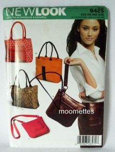 Simplicity 6425 Sewing Pattern Shopping Beach Tote Bag Purse 5 Styles Uncut