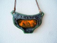 Blue orange ceramic necklace. Fireplace  necklace Ceramic