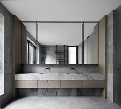 The Granite-Clad Armadale Residence by B.E Architecture - Design Milk Contemporary Bathrooms, Modern Bathroom, Master Bathroom, Bathroom Trends, Long Narrow Bathroom, Asian Bathroom, Minimal Bathroom, Bathroom Ideas, Bad Inspiration