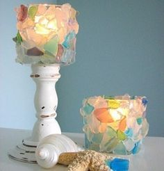 These are just super special - sea glass decor at its finest! Great for a shower gift for a beach themed bs