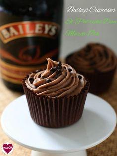 Baileys Cupcakes with Chocolate Baileys Buttercream for St Patricks Day