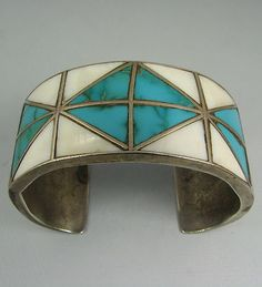 Striking Zuni Geometric Turquoise Shell Channel Inlay Bracelet   eBay