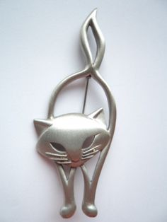 Cat Back View With Crystal Collar Pewter Clutch Pin | Cat Brooches |  Pinterest | Pewter, Crystals And Brooches