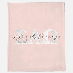 Our super fluffy micro-fleece sorority blankets feature a blush background with marble Greek letters and your sorority's name in a modern script font. Blankets are 50″ x 60″ in size; design is printed on one side. Sorority Rush, Sorority Names, Sigma Alpha Omega, Greek Gifts, Modern Script Font, One Sided, Note Cards, Vinyl Decals, Blankets