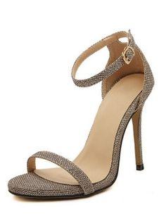 Golden Textured Ankle Strap Heeled Sandals