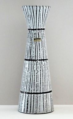 Scheurich Mid Century X-Tall Black & White Bamboo West German Cinched Vase
