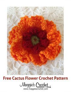 Many species of cacti produce blooms in the spring – this pattern is designed to mimic the flower of the Barrel Cactus, found in the deserts of the USA's southwest. Flower Svg, Flower Template, Cactus Flower, Flower Crafts, Flower Film, Crochet Puff Flower, Crochet Flowers, Fabric Flowers, Crochet Box