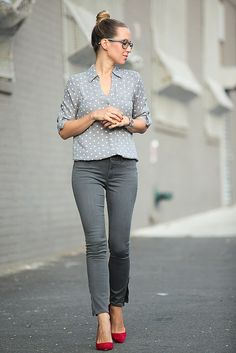 All grey outfit with a pop of color shoe -- Simple outfit that looks fantastic :)