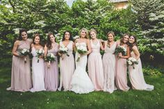 This sweet and sophisticated wedding features charming calligraphy details, garden inspired decor and a bridal party that turns heads wearing mismatched blush bridesmaid dresses.
