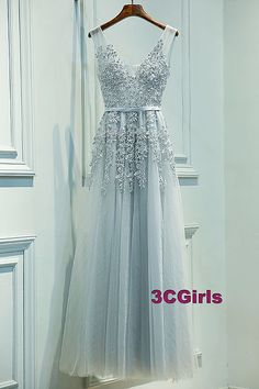 Cute v-neck light blue tulle prom dress with appliques