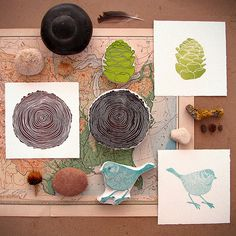 stamps, lino, block printing, map, nature, pinecone, wood, bird