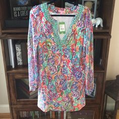 Lily Pulitzer Beaded Dress What a Catch Print Brand new with tags. Beautiful dress. Loose fit with or without unattached silk belt. 100% silk. Size 8. Lilly Pulitzer Dresses Mini