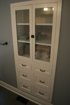Remove your closet door... Do this instead! Great for a bathroom closet!---love this idea! Maybe my linen closet int the hall too!