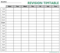 Revision Timetable Template, Revision Planner, Revision Tips, Study Planner, Hourly Planner, Weekly Planner, Class Schedule Template, Planner Template, List Template