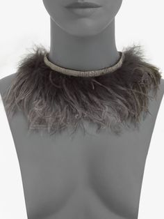 Brunello cucinelli Ostrich Feather Necklace in Gray (nut) | Lyst $285