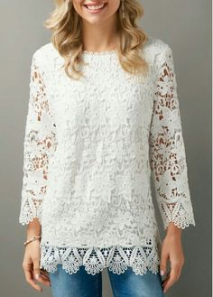 White Scalloped Hem Zipper Back Lace Blouse Stylish Tops For Girls, Trendy Tops For Women, Blouses For Women, Promotion Dresses, White Lace Blouse, Casual Skirt Outfits, Summer Outfits, Ladies Dress Design, Womens Fashion