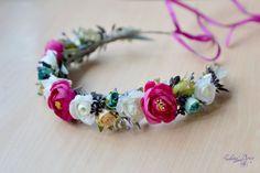 Flor corona boda boho pelo guirnalda rosa blanca flores por Vualia