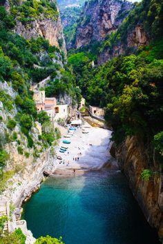Fiordo di Furore. A unique landscape of fjord in Furore town in Campania, south-western Italy.