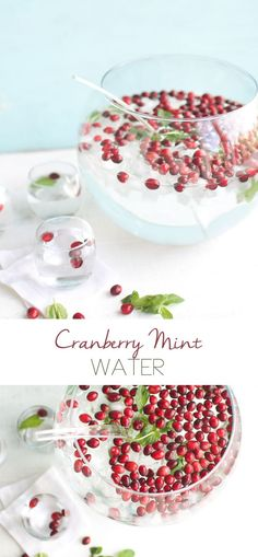 Festive water infused with cranberry and mint